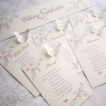 Butterfly Table Plan Cards for you to mount yourself